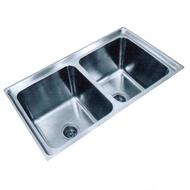Refurbished Double Deep Bowl Kitchen Sink Stainless Steel (Sinki Kembar Dapur)