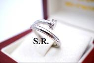 S.R.แหวนทองคำขาวคาร์เทียร์ฝังเพชรเม็ดละ 0.01 กะรัต ขาวสวยไฟดี พร้อมใบรับรองสินค้า เคลือบทองคำขาวแท้100%