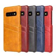 Samsung S10+ S10 S10e S9+ S9 S8+ S8 S7 edge 皮革保護殼牛皮仿真皮雙插卡手機殼