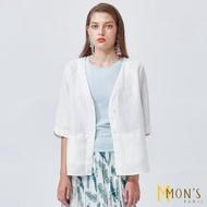 【MON'S】波浪袖造型亞麻外套