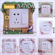 現貨供應▶頤然歐式現代簡約創意開關套燈插座裝飾貼牆貼樹脂開關貼保護套-NATIONAL