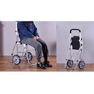新品鮮貨~鋁合金購物車買菜車爬樓帶椅凳大容量可摺疊拉桿車