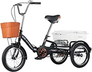 Three Wheel Bike With Shopping Basket Foldable Tricycle 16inch Adult Tricycles Folding Trike Bike Bicycle For Recreation Shopping Men's Women's Bike