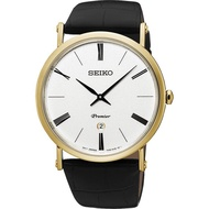Seiko Premier Leather New Sapphire Crystal Leather Watch Silver X Gold