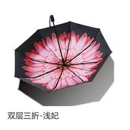﹨◕【現貨特價】 Banana小黑傘防曬紫外線黑膠太陽傘三折疊女遮陽傘雙層晴雨傘UPF5