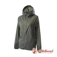 【Wildland 荒野】女 15D超輕低防水高透氣外套-橄欖綠 0A62905-68(防水外套/外套/連帽外套/衝鋒衣)