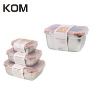【KOM】不鏽鋼保鮮盒1800ml-加碼送LMG日式不鏽鋼保鮮盒3+1(2800ML)組-蜜桃橘