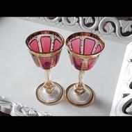 捷克波西米亞 Moser古董手工水晶杯 x 2 對杯