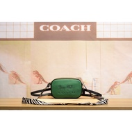 美國代購coach大logo單層 寬背帶小側背包 腰包 附兩條背帶 拼色相機包 75907代購