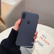 IPhone11PRO Xs Max XR I8 I7 6s Plus手機殼 官網同款簡約 午夜藍色 全包液態硅膠軟殼