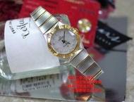 優買二手精品名牌店 OMEGA 歐米茄 星座 24mm 黃K金 鑽石 珍珠母貝面盤 不鏽鋼 手錶