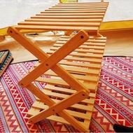 【May shop】露營居家置物木製摺疊三層架(不含收納袋)