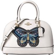 限時3折up| COACH 女士白色大蝴蝶刺繡圖案皮質手提單肩斜挎貝殼包 F24610 |滿額最高折600↘情人節寵愛禮