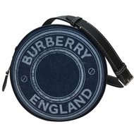 BURBERRY 徽章LOGO丹寧雙層圓餅包(藍色)