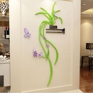 3D Flower Sticker Acrylic Mirror Wall Stickers For Living Room Background Decor Wallpaper