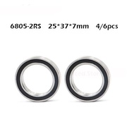 Free shipping 4/6pcs 6805-2RS 6805RS  6805 rs 25 x 37 x 7mm Metric Thin Section Deep Groove Ball Bearings