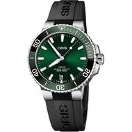 【ORIS 豪利時】Aquis 時間之海潛水300米日期機械錶-綠水鬼/39.5mm(0173377324157-0742164FC)