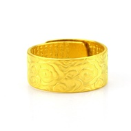Fashion 916 gold ring men's retro wide version heart sutra auspicious cloud pattern 22k916 gold ring ring male ring opening