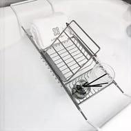 浴缸架 不銹鋼浴缸架子衛生間浴室置物架伸縮泡澡手機支架浴缸置物架LX 智慧e家
