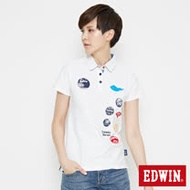 EDWIN 江戶勝 家徽短袖POLO衫-女-米白