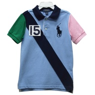 Ralph Lauren 童裝大馬拼接多色短袖POLO衫-藍綠粉(5歲)