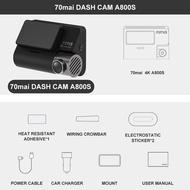 70mai Dash Cam 4K A800S Dual Sight 70mai A800S GPS ADAS Front and Rear Car DVR 2160P 4K 24H Parking 140FOV