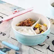 陶瓷飯盒帶蓋分隔保鮮密封日式便當盒微波爐加熱專用分格碗上班族 享購