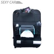 SZ 多功能汽車座椅收納袋 皮革餐桌 時尚黑 汽車 折疊 餐桌 椅背 收納袋 皮革質感 手機 車用 汽車 儲物袋 置物袋