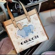 กระเป๋าผ้าเก๋ๆกระเป๋าผ้าCanvas Coach กระเป๋าโคชช้างกระเป๋าสะพายไหล่ กระเป๋าถือทรงช๊อปปิ้ง 12 นิ้ว งานจริงสวยตามปก