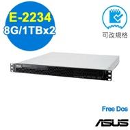 ASUS RS100-E10 伺服器 E-2234/8G/1TBx2/FD