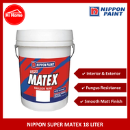 NIPPON PAINT SUPER MATEX 18 LITER / UNDERCOAT / WALL / INTERIOR / EXTERIOR / WHITE / HI HOME