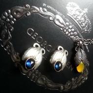 ㊣ 喬治傑生 Georg Jensen 108 人造藍寶石 古董夾式耳環 no 2008 黃玉髓 ¥ 罕品 ¥