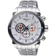 【RHYTHM 麗聲】時尚霸氣計時手錶-銀/48mm(SI1612S01)