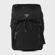 【PRADA 普拉達】品牌經典素面尼龍後背包(2VZ135-黑)