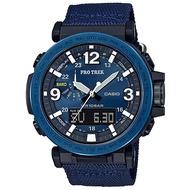 【CASIO】PRO TREK 大型螢幕抗低溫數位羅盤登山錶-不鏽鋼藍圈(PRG-600YB-2)正版宏崑公司貨