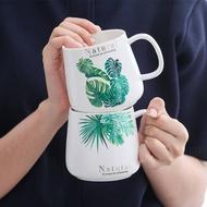 §♧創意陶瓷平底咖啡杯帶勺帶蓋清新葉子水杯馬克杯歐式小奢華辦公杯