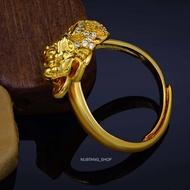 แหวนปี่เซียะ แหวนฟรีไซส์ แหวนชุบทองk18 ประดับเพชรcz สินค้านำเข้าจากฮ่องกง ปี่เซียะนำโชค ค้าขายร่ำรวย เงินทองไหลมาเทมา