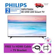 "[FREE SHIPPING + TV BRACKET + HDMI CABLE] Philips TV 58PUT6604 / 58PUT6604/68 58"" 4K UHD LED Smart TV"
