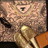 ANNA SUI 粉色 蕾絲 蠶絲 洋裝