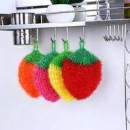 韓國熱銷加厚吸水抹布草莓洗碗巾 創意不沾油不沾油 顏色隨機 菜瓜布清潔布廚房洗碗毛巾擦桌布洗碗布