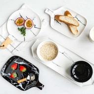 肆月 蔓延 大理石紋黑白陶瓷餐具西餐盤子菜盤點心盤面包板飯碗1入