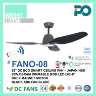 """PO FANO-08 52"""" Smart WIFI-Enabled Ceiling Fan with 20W Dimmable RGB LED Light Kit"""