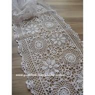 優優雜貨鋪 手工製作 白色蕾絲桌巾40*140公分