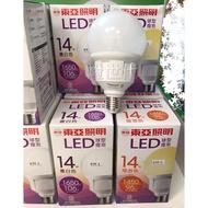 燈世代-東亞14W LED 球型 燈泡  14瓦 白光 黃光