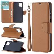 For Samsung Galaxy A02/M02/A02S/A12 5G/A32 4G/A32 5G/A42 5G/A52 4G/A52 5G/A72 4G/A72 5G Flip Wallet Cover Litchi Pattern with Stand Card Slots Phone Casing