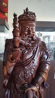 國際二手貨----台灣早期  紅豆杉木雕 高210公分 武財神 趙光明 精緻威武 矩矩有神