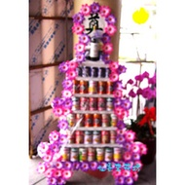 【CN-708】!!喪禮罐頭塔!! 罐頭塔-七層食品喪禮.罐頭塔、喪事罐頭塔、弔唁罐頭塔、罐頭座、喪事罐頭座、弔唁罐頭座、弔唁花禮