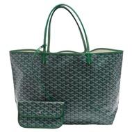 GOYARD St. Louis GM 防水帆布LOGO購物包(大-綠色)