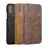 IPhone XS Max XR X 8 7 6s 6 Plus SE2 2020 真皮保護殼牛皮磨砂紋雙插卡手機殼背蓋