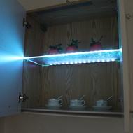 LED ชั้นวางแก้วภายใต้ตู้ไฟแก้วขอบด้านข้าง 30/40/50 ซม. คลิป Clamp โคมไฟตู้โชว์โคมไฟเหล้า Shelf Decor